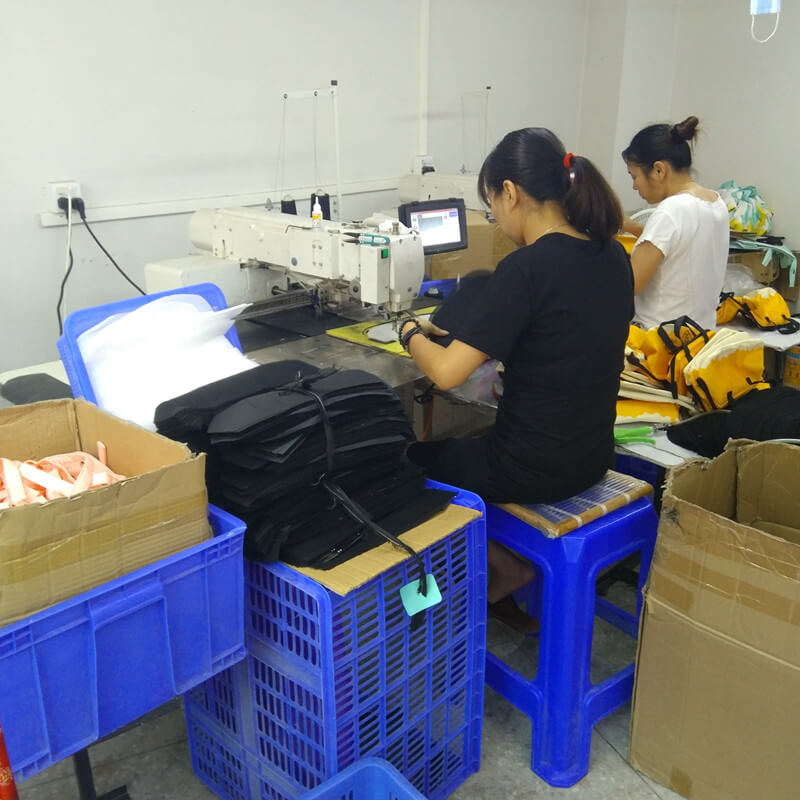 Sewing workers of Linway bag factory workshop